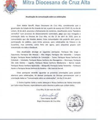 Atualização da comunicação sobre as celebrações na Diocese de Cruz Alta