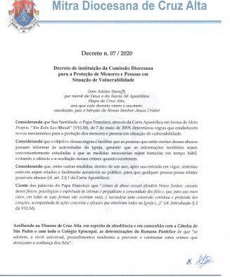 Constituição da Ouvidoria Canônica para a Proteção de Menores e vulneráveis