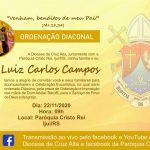 Convite para ordenação diaconal de Luiz Carlos Campos