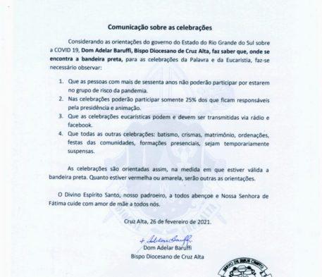 Orientações Diocesanas sobre as celebrações nas regiões em situação de bandeira preta