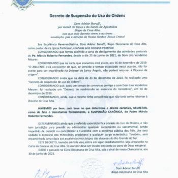 Decreto de Suspensão do Uso de Ordens - Pe. Márcio Fernandes